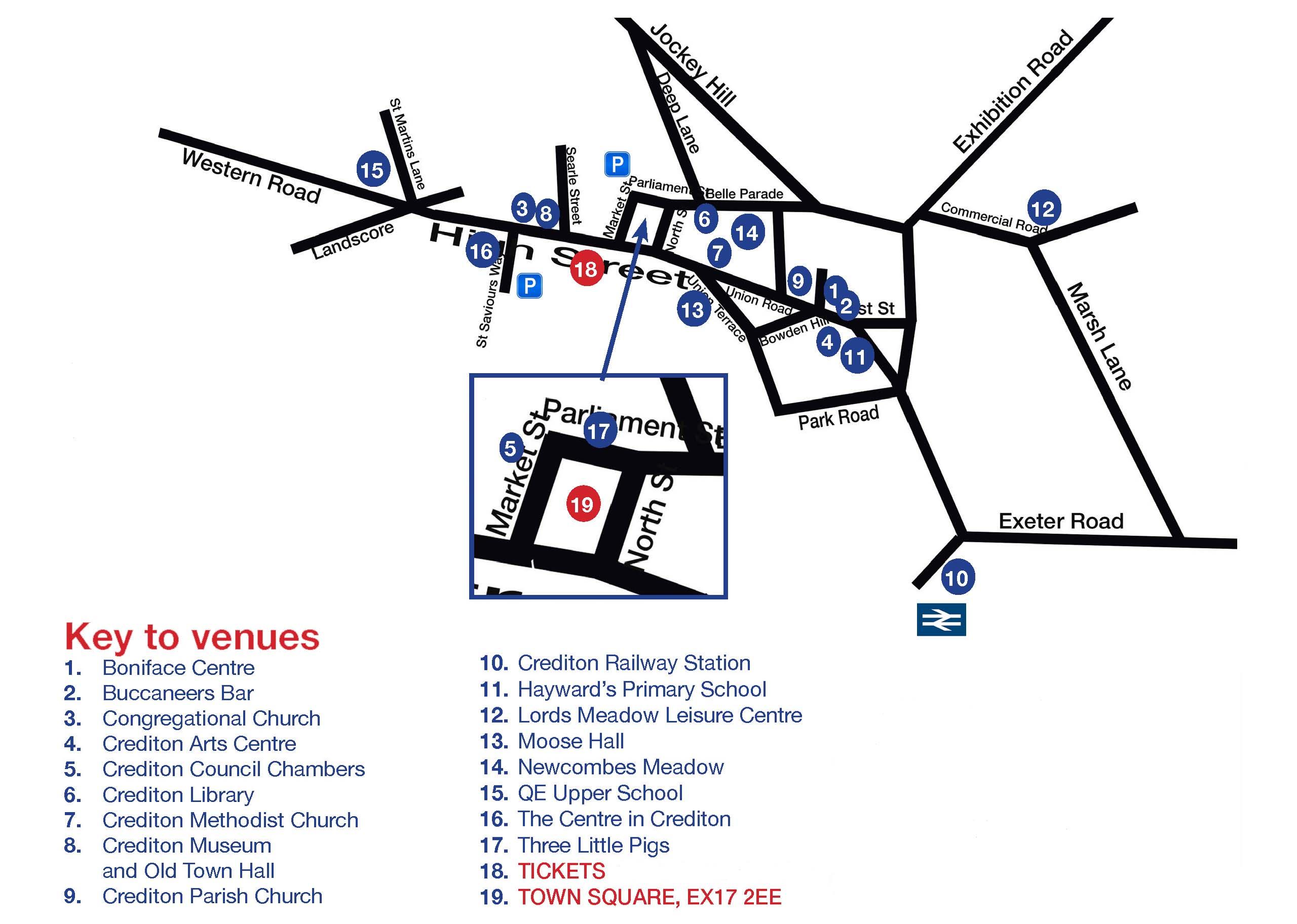 Map of Crediton venues